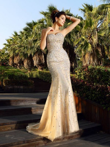 Mermaid Beading Sweetheart Court Train Satin Evening Wear