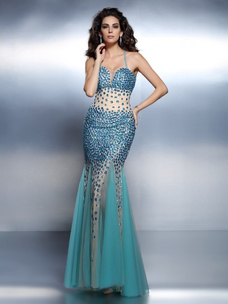 Mermaid Spaghetti Straps Rhinestone Floor-Length Satin Evening Wear