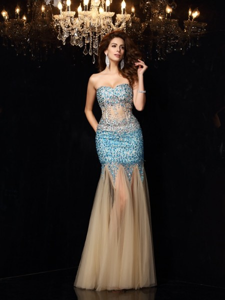 Sheath Beading Sweetheart Net Floor-Length Party Dresses