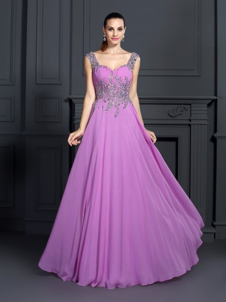 A-Line Straps Beading Floor-Length Chiffon Formal Dress