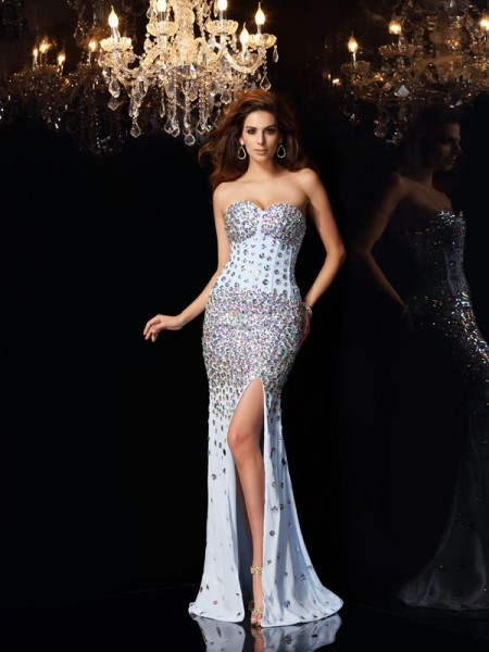 Mermaid Sweetheart Sweep/Brush Train Chiffon Rhinestone Dresses