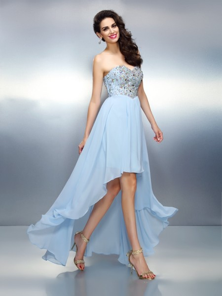 A-Line Sweetheart Ruffles Asymmetrical Chiffon Prom Dress
