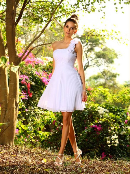 A-Line One-Shoulder Hand-Made Flower Chiffon Knee-Length Bridesmaid Gown