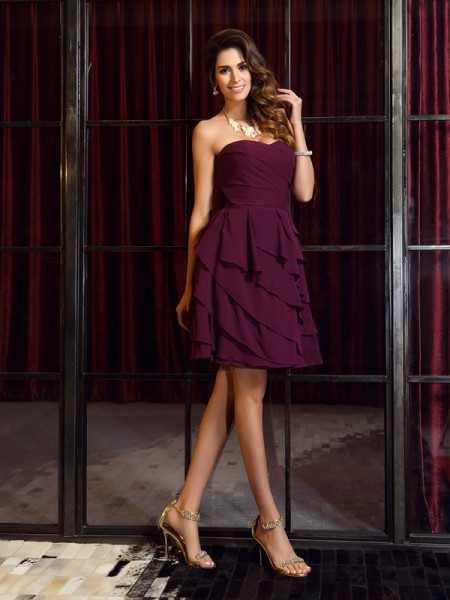 A-Line Sweetheart Chiffon Ruched Mini Attractive Gown
