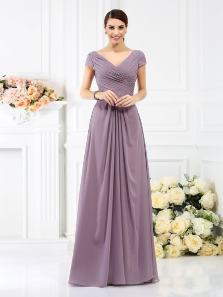 A-Line V-neck Short Sleeves Pleats Floor-Length Chiffon Bridesmaid Gown