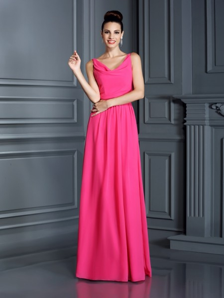 A-Line Spaghetti Straps Floor-Length Chiffon Lady Dress