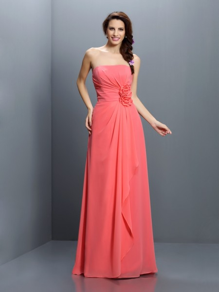 A-Line Strapless Hand-Made Flower Floor-Length Chiffon Dresses For Bridesmaid