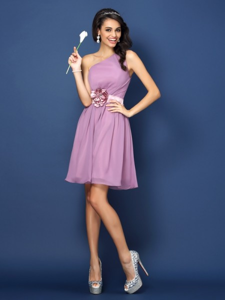 A-Line One-Shoulder Hand-Made Flower Short Chiffon Dresses For Bridesmaid