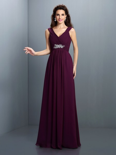 A-Line V-neck Pleats Beading Floor-Length Chiffon Lady Dress