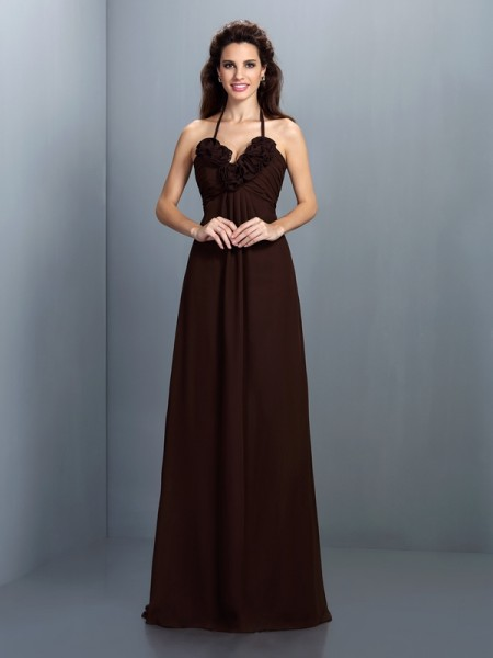 A-Line Halter Hand-Made Flower Floor-Length Chiffon Lady Dress