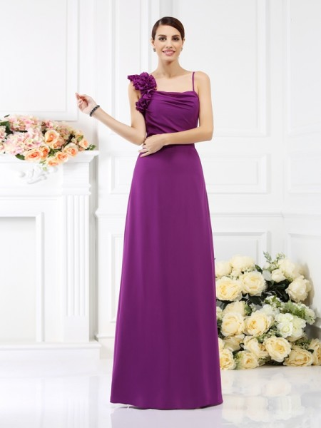 Sheath Spaghetti Straps Hand-Made Flower Floor-Length Chiffon Dresses For Bridesmaid