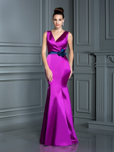 Mermaid V-neck Hand-Made Flower Floor-Length Elastic Woven Satin Formal Wear