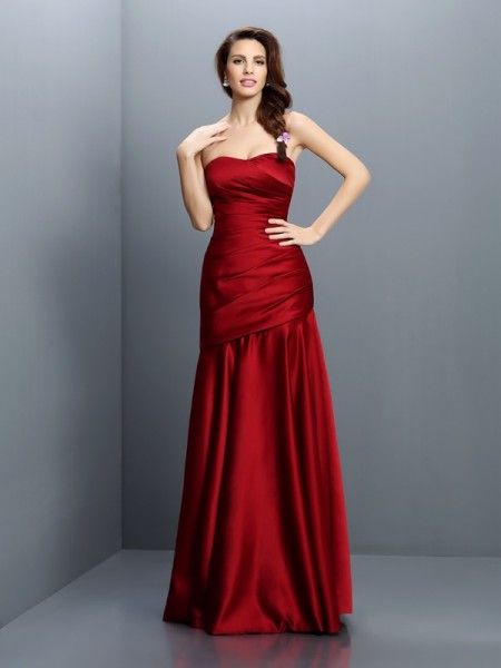 A-Line Strapless Ruched Floor-Length Satin Dresses For Bridesmaid