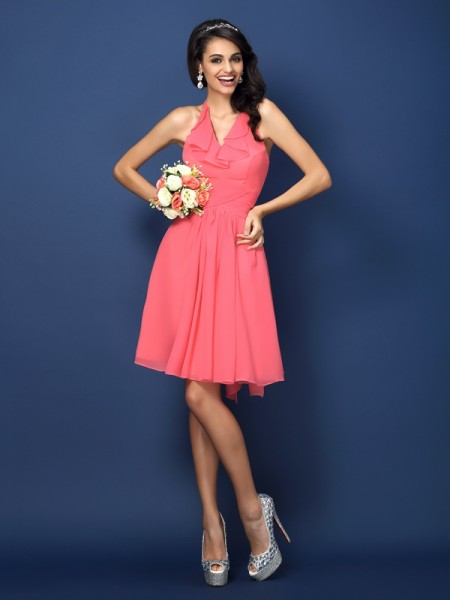 A-Line Halter Pleats Bowknot Short Chiffon Dresses For Bridesmaid