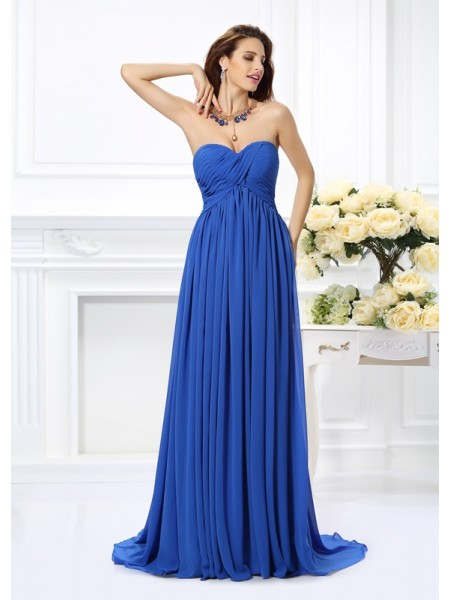 A-Line Sweetheart Chiffon Ruched Chaple Train Dresses