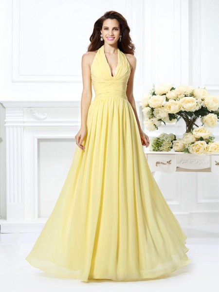 A-Line Halter Pleats Floor-Length Chiffon Prom Dress