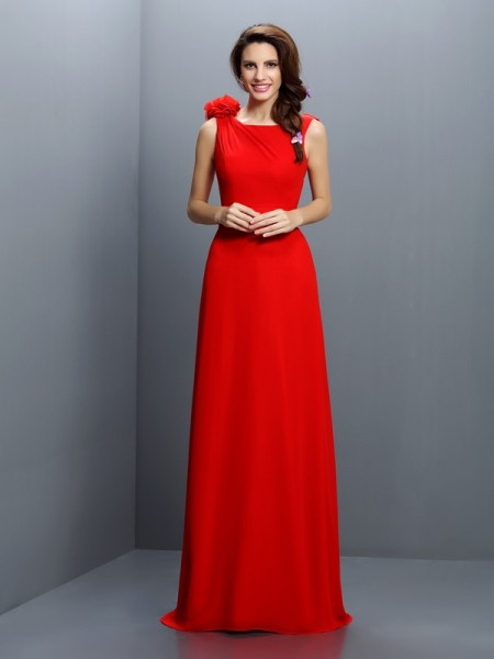 A-Line Bateau Hand-Made Flower Sweep/Brush Train Chiffon Dresses For Bridesmaid