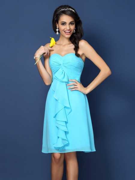 A-Line Sweetheart Pleats Knee-Length Chiffon Dresses For Bridesmaid
