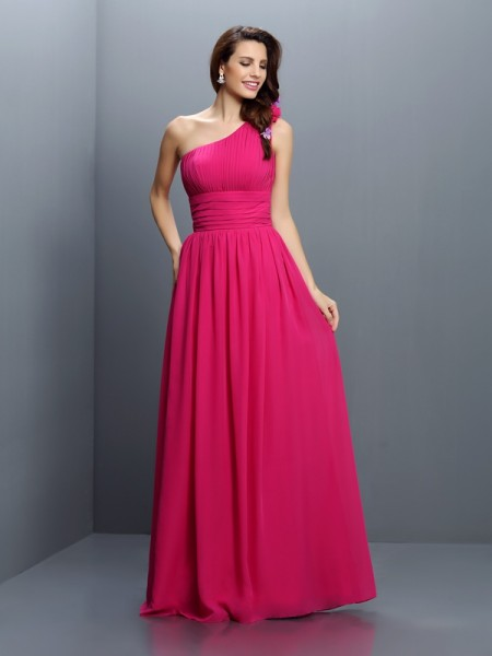 A-Line One-Shoulder Pleats Floor-Length Chiffon Dresses For Bridesmaid