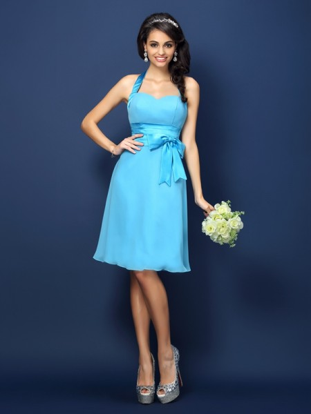 Sheath Halter Bowknot Knee-Length Chiffon Dresses For Bridesmaid