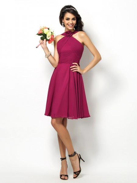 A-Line High Neck Pleats Short Chiffon Dresses For Bridesmaid