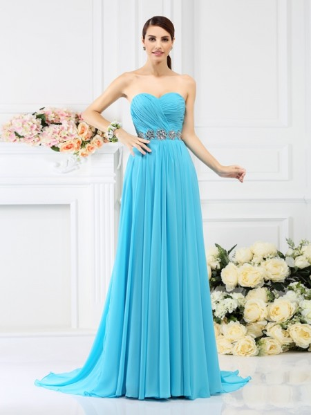 A-Line Sweetheart Pleats Beading Sweep/Brush Train Chiffon Dresses For Bridesmaid