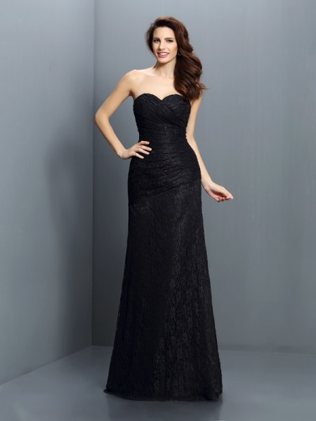 A-Line Sweetheart Lace Floor-Length Satin Dresses For Bridesmaid