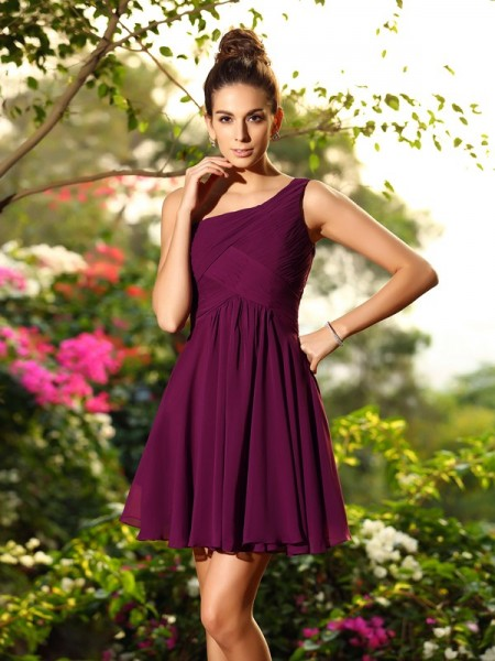A-Line Chiffon One-Shoulder Pleats Mini Gowns For Bridesmaid