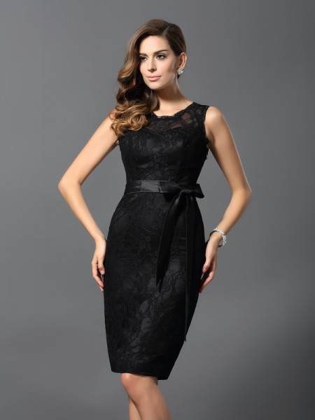 Sheath Jewel Satin Lace Knee-Length Dresses