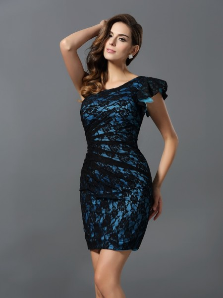 Sheath One-Shoulder Lace Elastic Woven Satin Mini Gowns For Bridesmaid