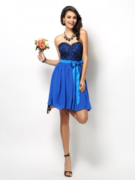 A-Line Sweetheart Lace Bowknot Short Chiffon Dresses For Bridesmaid