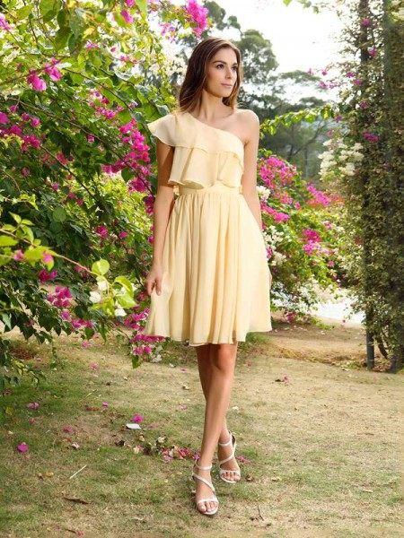A-Line Chiffon One-Shoulder Mini Gowns For Bridesmaid