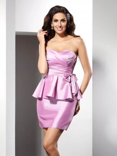 Sheath Sweetheart Bowknot Short Taffeta Dresses