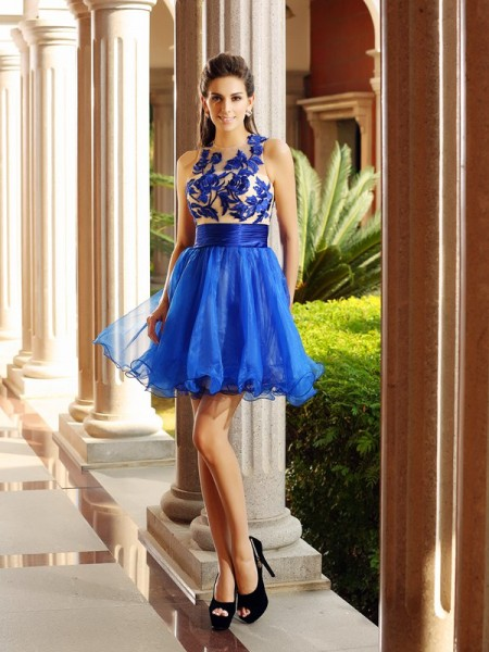 A-Line Bateau Net Short Beading Party Dress
