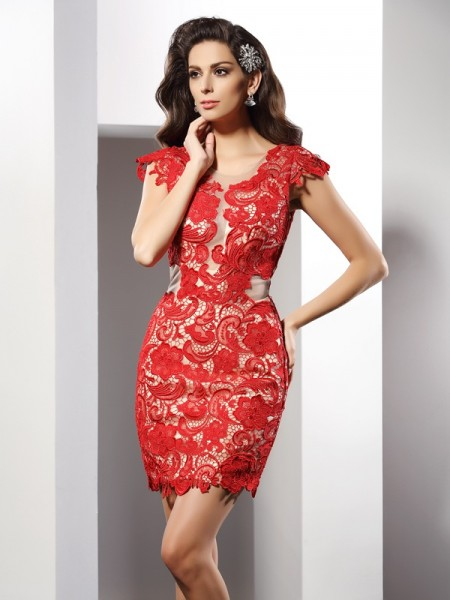 Sheath Scoop Short Lace Elastic Woven Satin Formal Wear