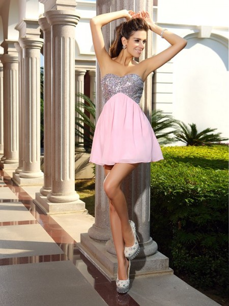 A-Line Chiffon Short Sweetheart Sequin Dresses