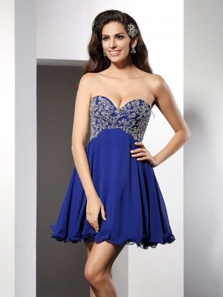 A-Line Sweetheart Ruffles Short Chiffon Prom Dress