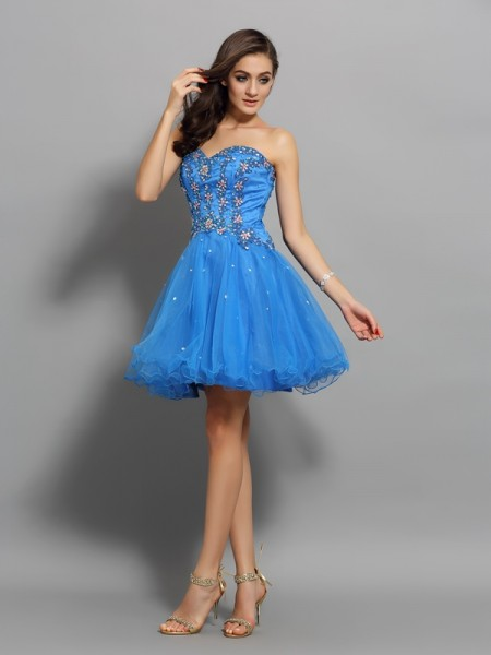 A-Line Satin Beading Sweetheart Mini Gown