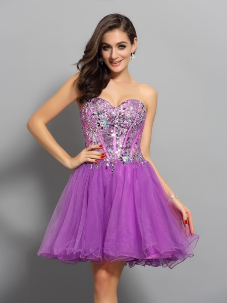 Sweetheart A-Line Satin Beading Mini Gown