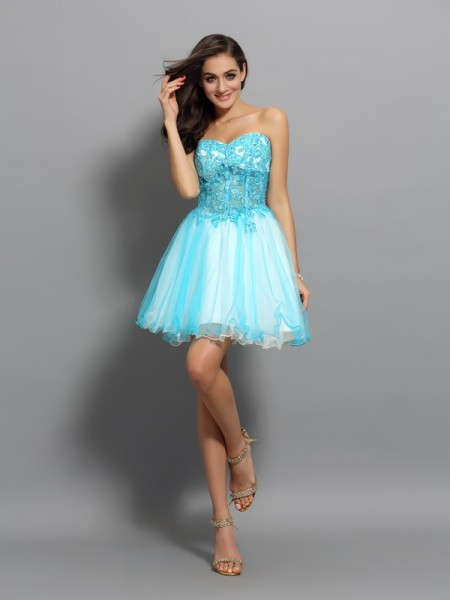 A-Line Satin Sweetheart Short Applique Beading Party Dress