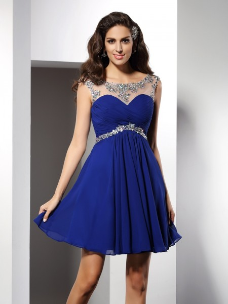 A-Line Scoop Beading Short Chiffon Prom Dress
