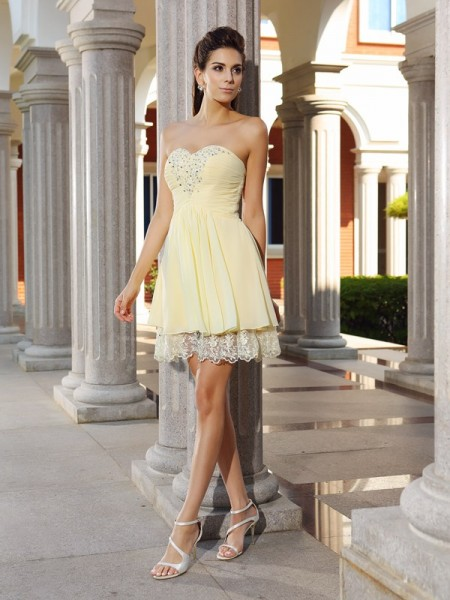 A-Line Sweetheart Chiffon Short Beading Party Dress