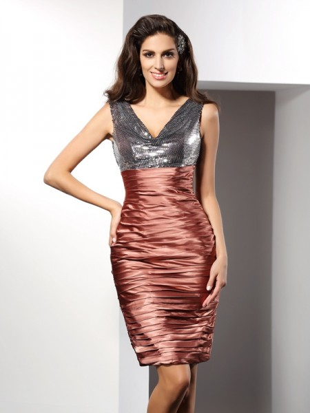 Sheath V-neck Knee-Length Silk like Satin Formal Wear