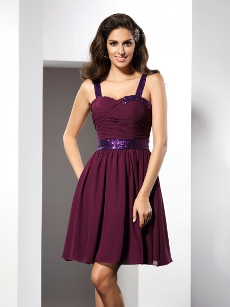 A-Line Straps Ruched Short Chiffon Prom Dress