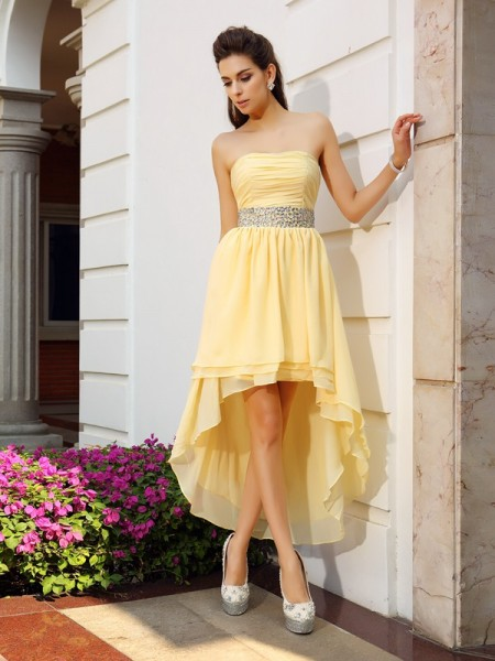 A-Line Chiffon Strapless Asymmetrical Beading Party Dress