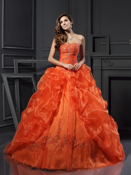 Ball Gown Beading Sweetheart Applique Court Train Organza Women Gown
