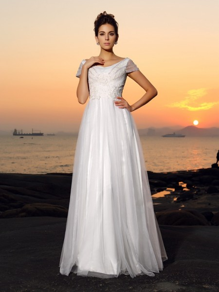 A-Line Short Sleeves Off-the-Shoulder Beading Tulle Floor-Length Bridal Dress