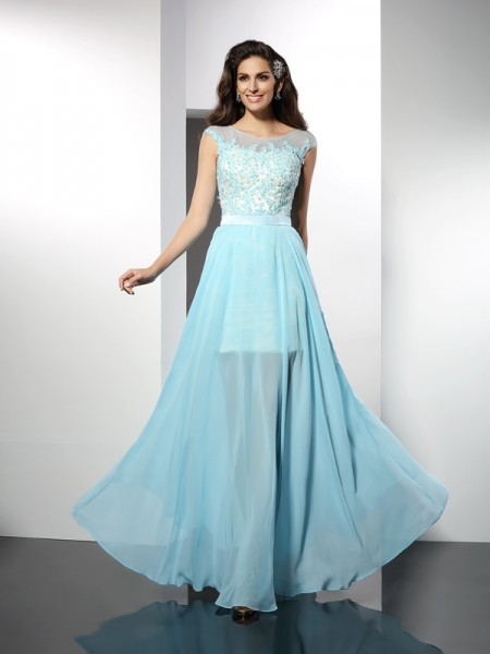 A-Line Bateau Applique Floor-Length Chiffon Prom Dress