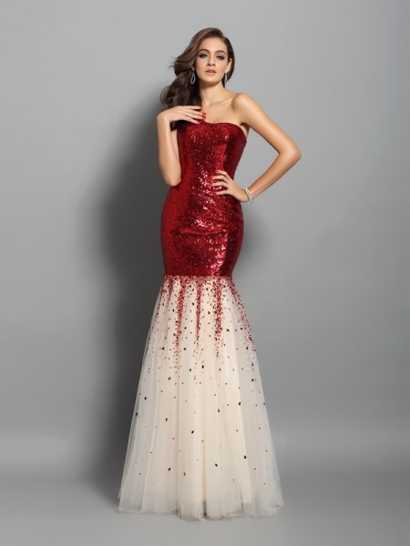 Mermaid One-Shoulder Sequins Floor-Length Graduation Dresses