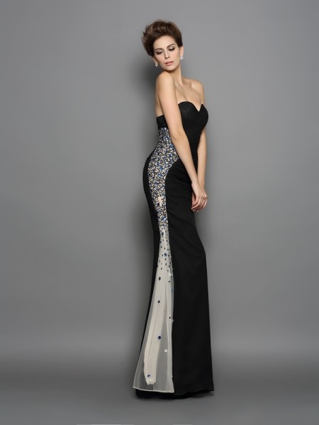 Mermaid Sweetheart Chiffon Ruched Floor-Length Party Dresses